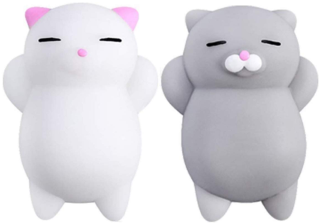 This is an image of girl's squishy cat set in white and gray colors
