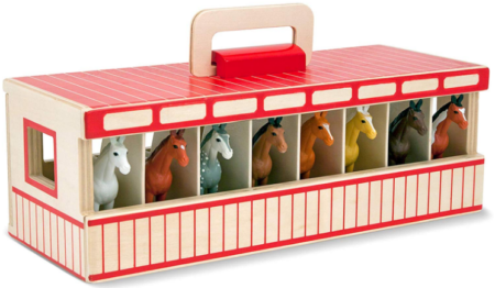 This is an image of kid's stable play set in colorful colors