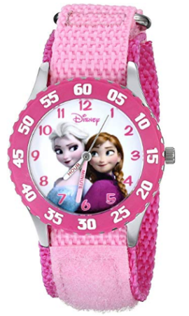 This is an image of girl's Steel classic watch with disney frozen graphics in pink color