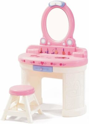 This is an image of a pink vanity set for little girls.