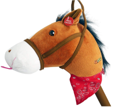 This is an image of kid's stick horse plush with sound in white and brown colors