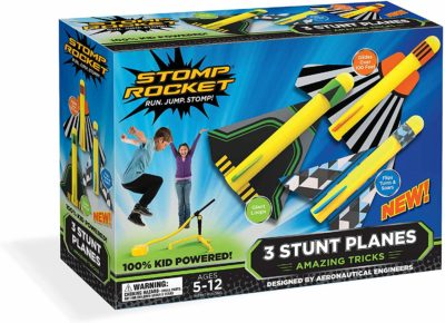 This is an image of a stomp rocket with 3 plane toys for kids.