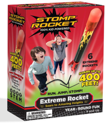 This is an image of boy's stomp rocket pack in black, yellow and red flame colors