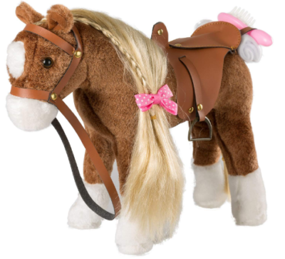 This is an image of kid's stuffed animal horse plush in brown color