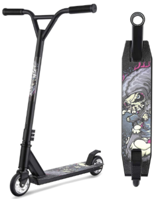 This is an image of kid's pro Stunt kick scooter with graphics in black color