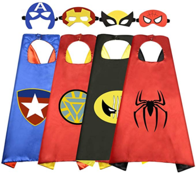 This is an image of boy's superhero capes in colorful colors