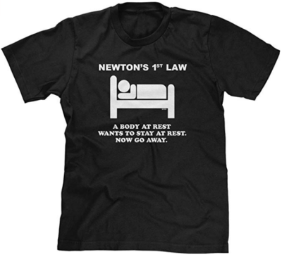 This is an image of boy's T shirt newtons 1st law in black color