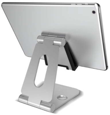This is an image of boy's Tablet stand adjustable in gray color