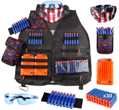 This is an image of kid's tactical vest kit for nerf guns in black color