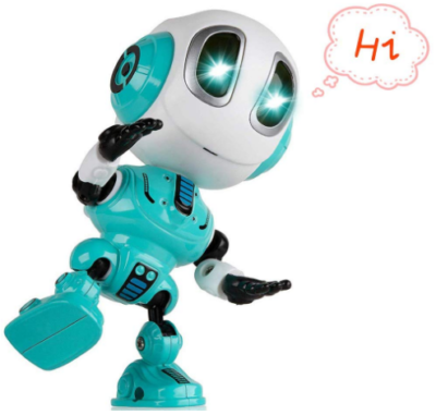 This is an image of boy's Talking robot in blue and white colors
