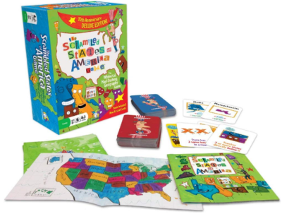 This is an image of kid's Scrabled states of america board game