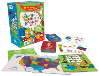 This is an image of kid's the scrambled states of america board game