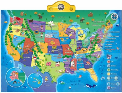 This is an image of a interactive world map for kids by Think Gizmos.