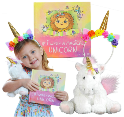This is an image of girl's unicorn plush and book included in colorful colors
