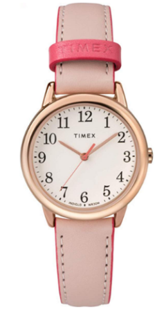 This is an image of girl's classic watch by Timex in pink color