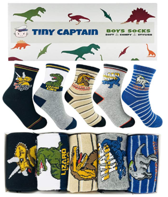 This is an image of boy's socks with dinosaur graphics pack in colorful colors
