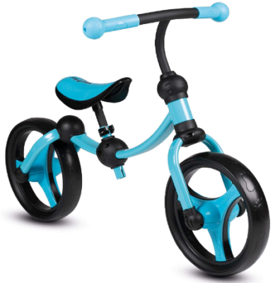 This is an image of toddler's Balance bike in black and blue colors