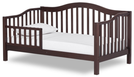 This is an image of toddler's bed in dark brown color
