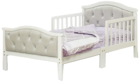 This is an image of toddler's bed with soft headboard in gray color