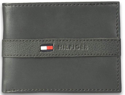 This is an image of boy's Wallet by Tommy helfiger in gray color