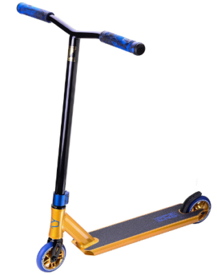 This is an image of kid's kick scooter pro in blue and yellow colors
