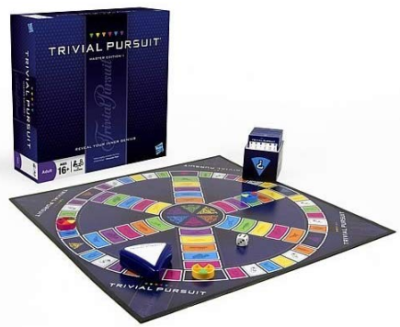 This is an image of boy's Trivial pursuit board game in blue color