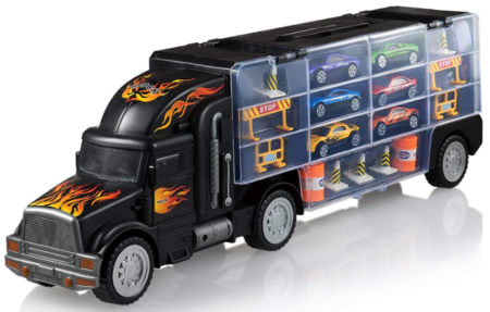 This is an image of boy's truck transport car carrier in black color