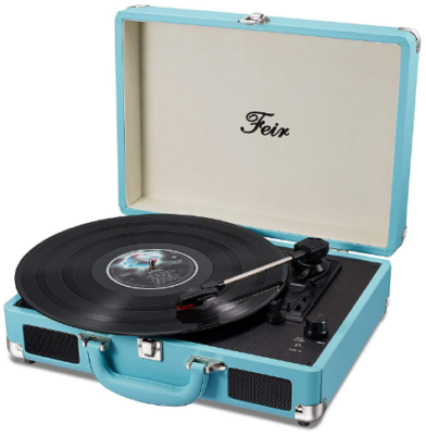 This is an image of girl's vintage vinyl turntable suitcase with speakers in turquoise blue color