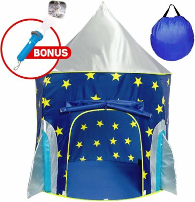 This is an image of a blue rocketship tent for kids by USA Toyz.
