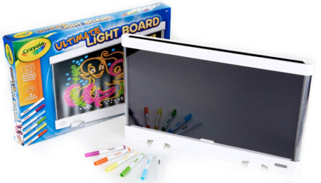 This is an image of boy's Ultimate light board set by Crayola in Black and white colors