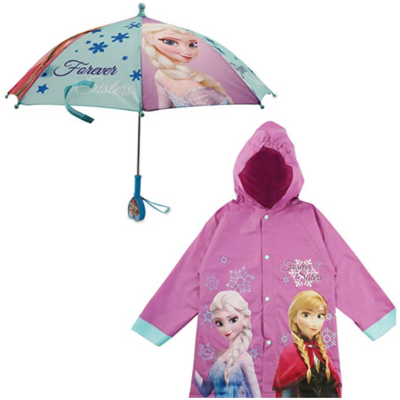This is an image of girl's umbrella rainwear set with disney frozen theme