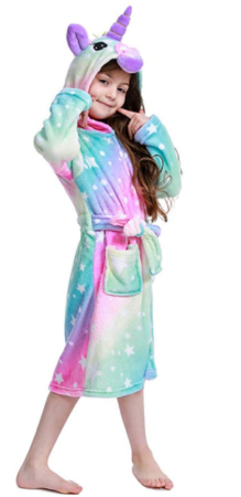 This is an image of girl's unicorn bathrob in colorful colors