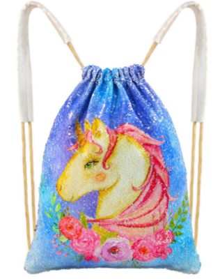 This is an image of girl's unicorn drawstring bag in colorful colrs
