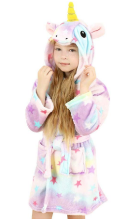 This is an image of girl's unicorn hooded bathrobe in colorful colors