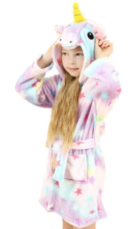 This is an image of girl's unicorn hooded bathrobe sleepwear