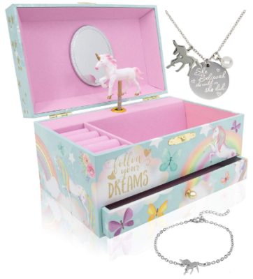 This is an image of girl's unicorn music box with neckless as a gift in colorful colors