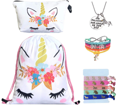 This is an image of girl's unicorn package with backpack and accessories in white color