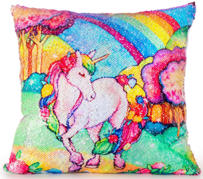 This is an image of girl's Unicorn pillow in colorful colors