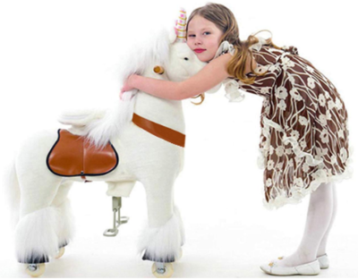 This is an image of kid's unicorn ride on toy in white color