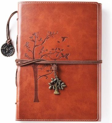 This is an image of a brown leather journal for women By Valery.