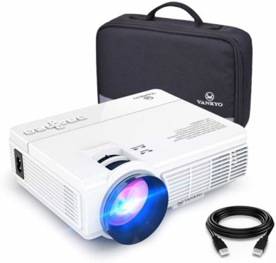 This is an image of a white Leisure 3 mini projector by Vankyo.