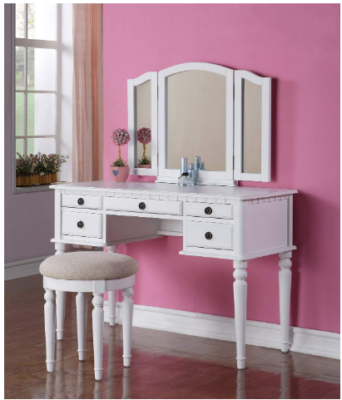 This is an image of vanity set with mirrors in white color