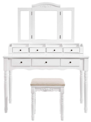 This is an image of girl's vanity set with mirrors in white color
