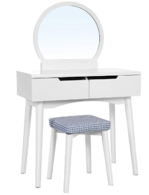 This is an image of girl's vanity table set witj a mirror in white color