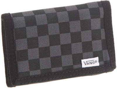 This is an image of boy's vans wallet in black and gray colors