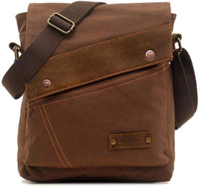 This is an image of girl's vintage crossbody bag in brown color