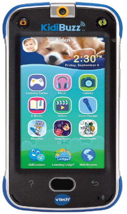 This is an image of kid's Vtech cellphone in black and blue colors