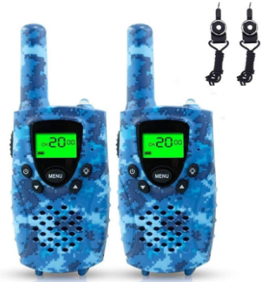 This is an image of boy's walkie talkies with large radio range in camoflage blue color
