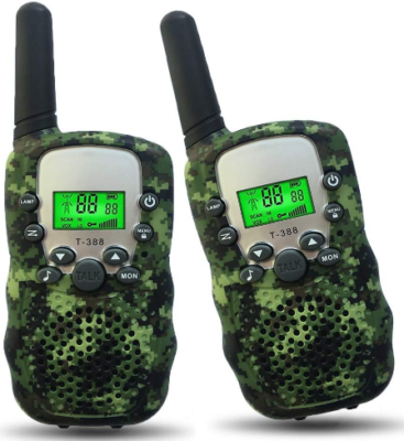 This is an image of boy's walkie talkies with flashlight in green camoflage color