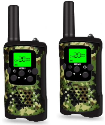 This is an image of boy's walkie talkies in camoflage green and black colors